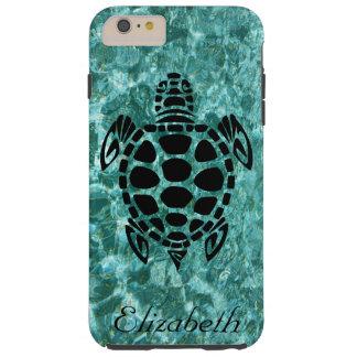 Custom Tribal Sea Turtle Aqua Blue Tough iPhone 6 Plus Case