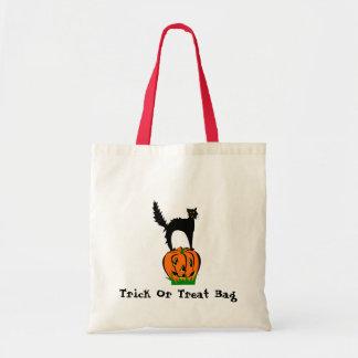 Custom Trick or Treat Funny Black Cat and Pumpkin Tote Bag
