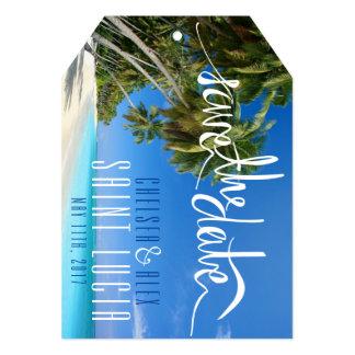 Custom Tropical Beach Wedding Save the Date Tag Card