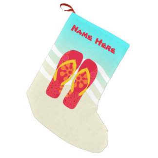 Custom Tropical Christmas Flip Flops Beach Holiday Small Christmas Stocking