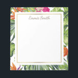 """Custom Tropical Green Leaves Orange Pink Flowers Notepad<br><div class=""""desc"""">Personalized tropical notepad with bold green tropical leaves and brightly colored orange and pink flowers.</div>"""