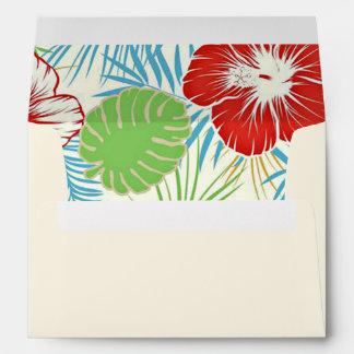 Custom Tropical Hibiscus Hawaiian Floral Envelopes