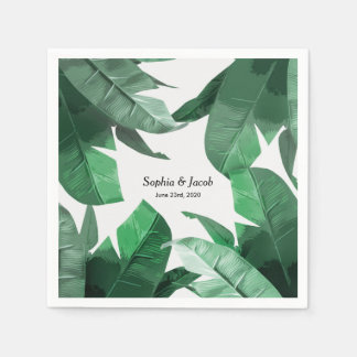 Custom Tropical palm print wedding napkins