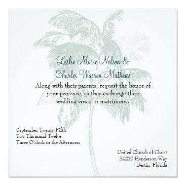 Beach Themed Custom Tropical Wedding Invitation