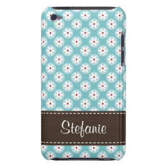 Custom Turquoise Blue and Red Daisy Diamond iPod T iPod Case-Mate Case
