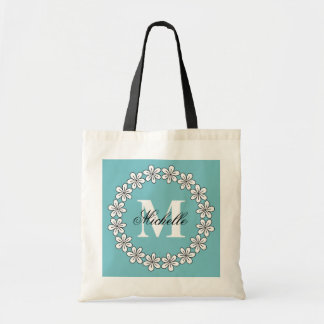 Custom turquoise blue floral bridesmaid tote bags