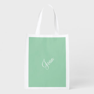 Custom Turquoise Green Upscale One Color Reusable Grocery Bags