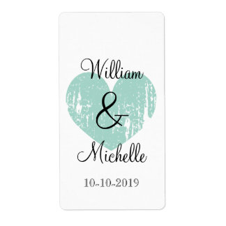 Custom turquoise heart wedding wine bottle labels
