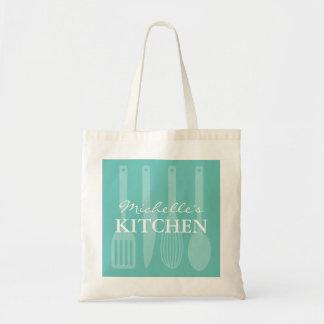 Custom turquoise kitchen cooking utensils tote bag