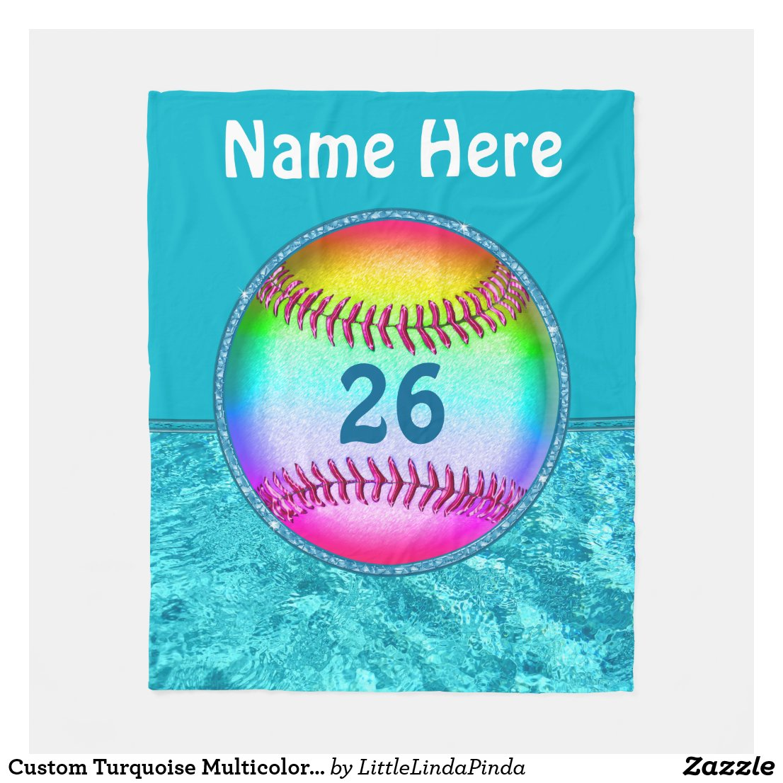 Custom Turquoise Multicolored Softball Blanket
