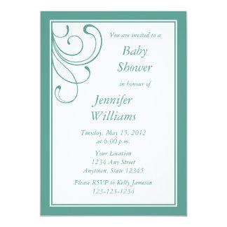 "Custom Turquoise or Aqua Baby Shower Invitation 5"" X 7"" Invitation Card"