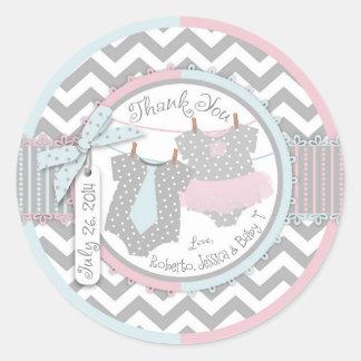 Custom Tutu Tie Twins Baby Shower Sticker