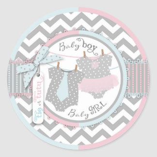 Custom Tutu & Tie Twins Baby Shower Sticker