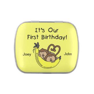 Custom Twin Monkeys 1st Birthday Candy Tins