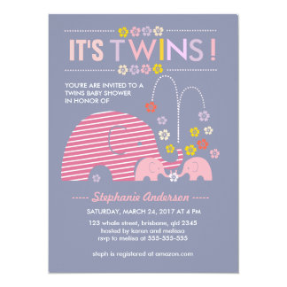 Custom twins baby elephant and flower shower card