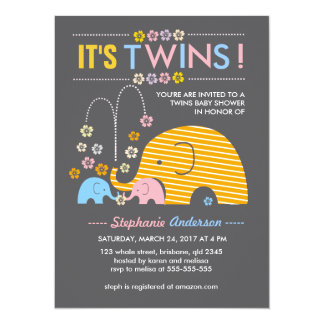 Custom twins baby elephant and flower shower 5.5x7.5 paper invitation card