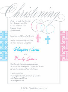 boy and girl twin baptism christening invitations zazzle