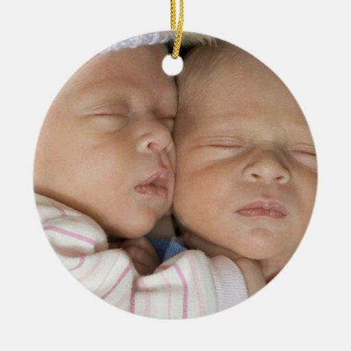 Custom Twins Photo Christmas Ornament