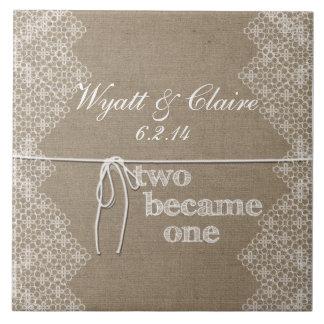 Custom Two Became One Wedding Tiles