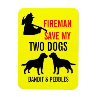 Custom Two Dog Fire Safety Rectangular Magnet