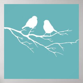 Custom Two Little White Sparrow Birds Silhouette Poster