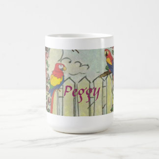 Custom Two Parrots on Picket Fence in Rose Garden Coffee Mug
