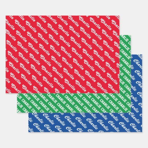 Custom typography colorful name pattern wrapping paper sheets