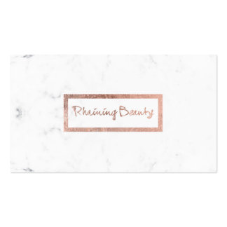 custom typography faux rose gold white marble business card