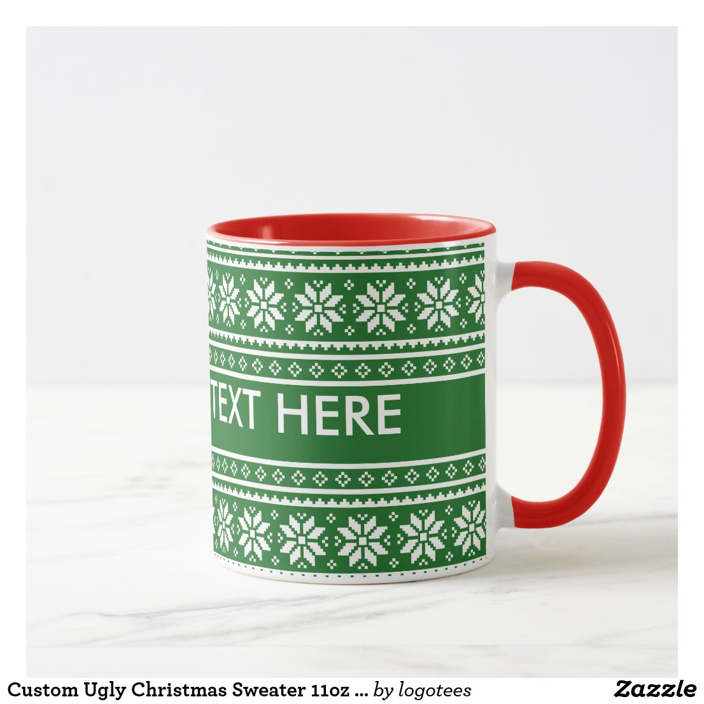 Custom Ugly Christmas Sweater 11oz ringer mugs