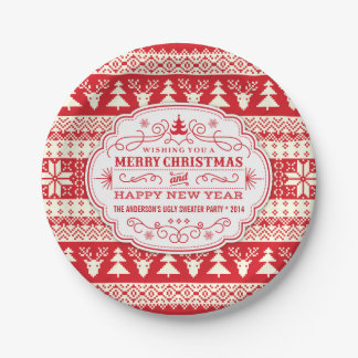 Custom Ugly Sweater Christmas Party Plates