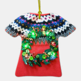 Custom Ugly Sweater Contest Award or Gift Tag - Double-Sided T-Shirt Ceramic Christmas Ornament