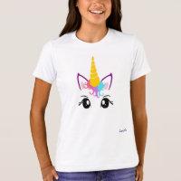 Custom Unicorn Girls T shirt Personalize NAME