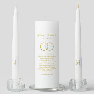Custom Unity Candle Set | Gold Corinthians