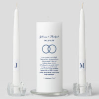 Custom Unity Candle Set | Navy Blue Corinthians