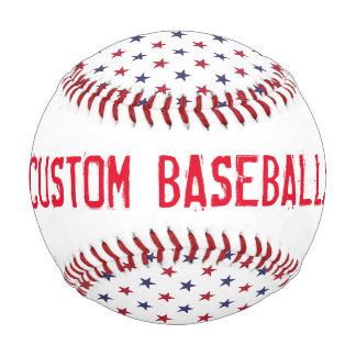 Custom USA Flag Red and Flag Blue Stars Baseball