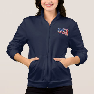 Custom USA Flag Women's Fleece Track Jacket