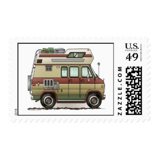 Custom Van Camper Postage Sello