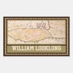 Custom Vintage 1767 Map Rectangular Bookplate Rectangular Sticker
