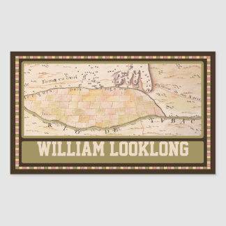 Custom Vintage 1767 Map Rectangular Bookplate Stickers