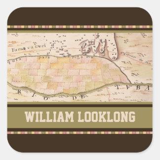 Custom Vintage 1767 Map Square Bookplate Square Sticker