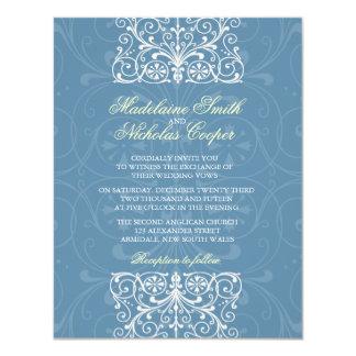 Custom vintage air force blue isabelline wedding card