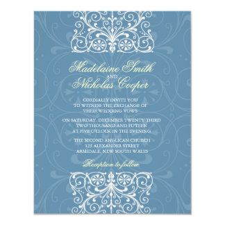 Custom vintage air force blue isabelline wedding 4.25x5.5 paper invitation card
