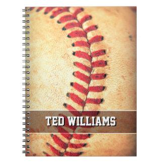 Custom vintage baseball ball spiral notebook