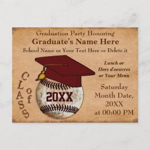 CUSTOM Vintage BASEBALL Graduation Invitations