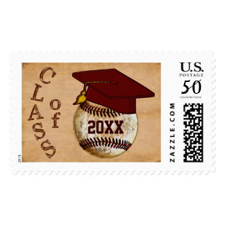 Custom Vintage Baseball Graduation Postage Stamps