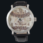 """Custom Vintage Baseball Watch with 3 Text Boxes<br><div class=""""desc"""">Personalized Baseball Bar Mitzvah Gifts Baseball Watch or type in YOUR TEXT or Delete it. Type in YOUR TEXT or keep Bar-Mitzvah. Three Text Boxes Templates (* Click tiny blue word &quot;More&quot; to see all text boxes). Type in YOUR TEXT or Delete any or all text. CLICK the tiny blue...</div>"""