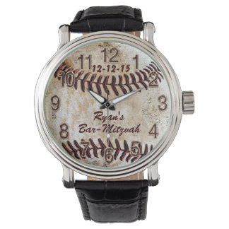 Custom Vintage Baseball Watch with 3 Text Boxes