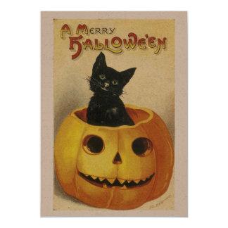 Custom Vintage Black Cat & Pumpkin Hallowe'en 5x7 Paper Invitation Card
