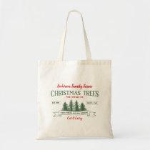 Custom Vintage Christmas Tree Farm Tote Bag