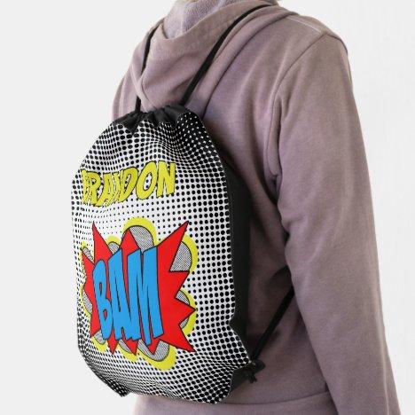 Custom Vintage Comic Book Pop Art Style BAM! Drawstring Bag